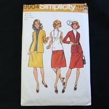 Simplicity 9904 Sz 12 Jacket Skirt Blouse Pattern Vtg 1972 Suit Set  - $6.49