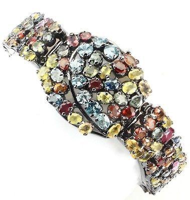 New Classy Custom Huge 236 ct Natural Sapphire, Zircon Silver SS bracelet 8 inch