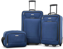 3-Piece Luggage Set Navy Travel Rolling Carry On Suitcase Wheels Boardin... - $85.66