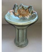 2005 Small Birdbath Feeder w/ Birds Rustic Antiqued Green Table Decorati... - $34.96