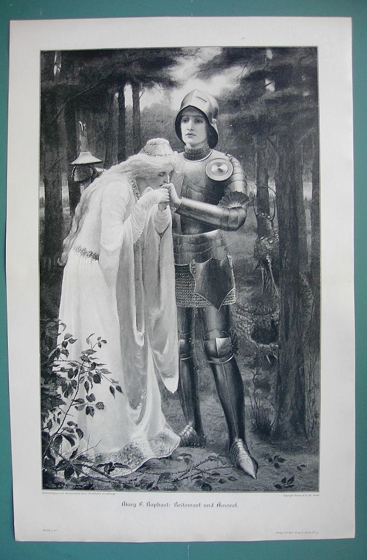 "Primary image for GIRL KNIGHT Britomart & Saved Maiden Amorett - VICTORIAN Era Print 14"" x 22"""