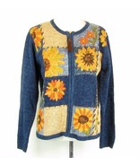 HEIRLOOM COLLECTIBLES Size Medium M Cotton Blend Sunflower Cardigan Swea... - $19.99