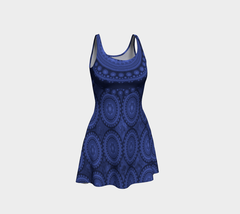 Ornate Midnight Blue Flare Skater Dress - $55.00
