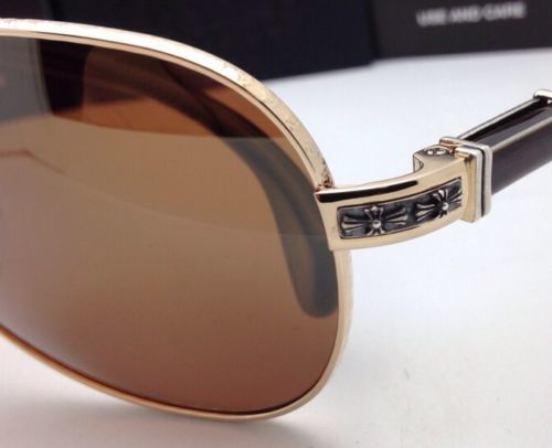 1a8bc4707eef CHROME HEARTS Sunglasses GRAND BEAST GP-EBPV Gold   Ebony Wood with Brown  Lenses