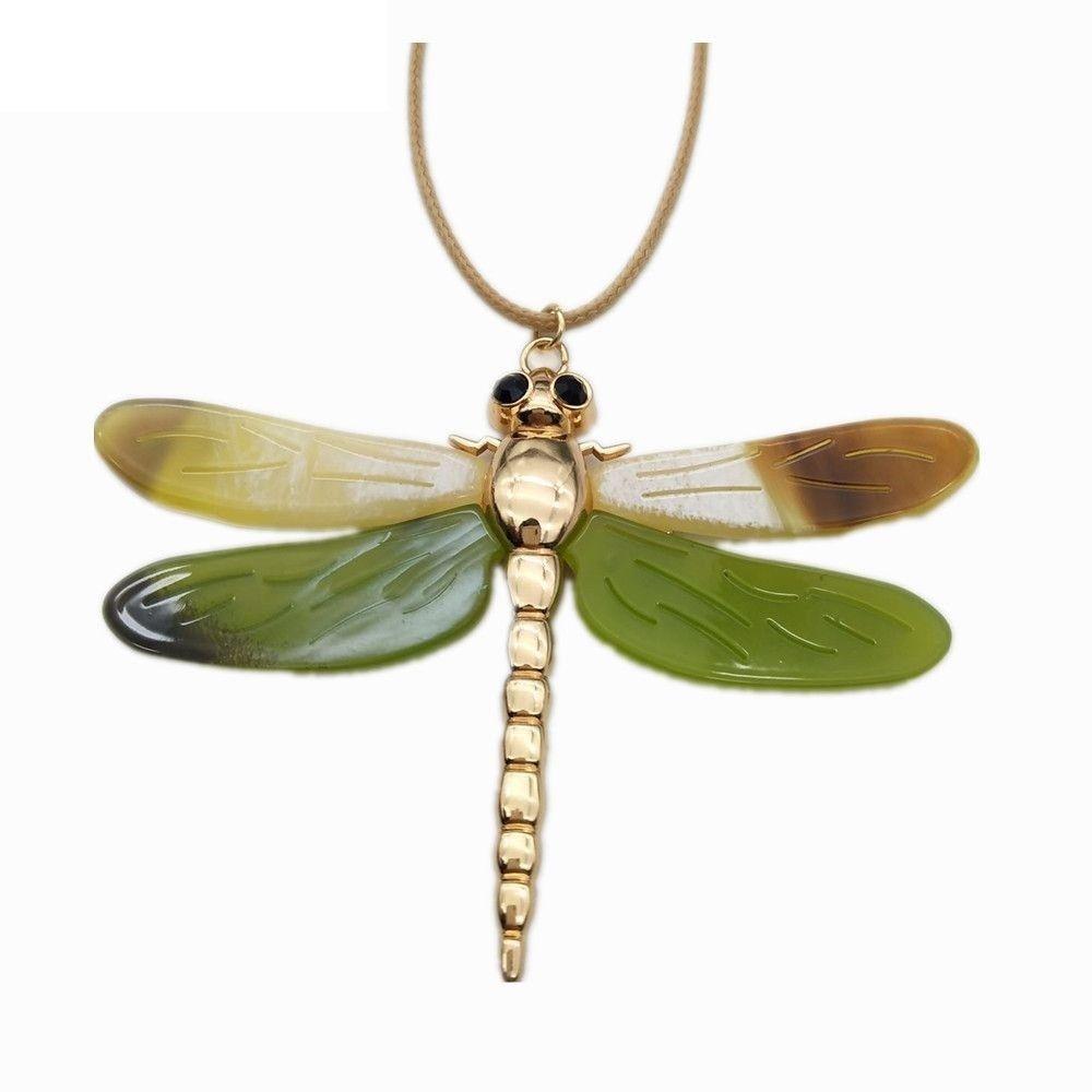Women Dragonfly Necklace Pendant Zinc Alloy Statement Color Collar Accessories image 9