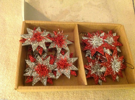 Set of 12 vintage red and silver glitter and tinsel stars
