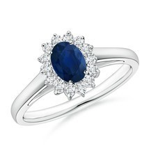 0.79tcw Natural Blue Sapphire Diamond Halo Ring 14k Gold/Platinum Size 3-13 - $819.38+