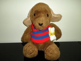 Gund Puppy Dog with Bone Brown Stuffed Toy 11in. Tag Vinyl Ears Vintage 1984  - $86.85