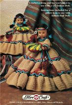 "Crochet Harvest Moon 13"" Native Indian Doll 8"" Pillow Doll Fibre Craft P... - $11.99"