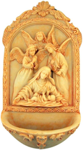 ANGELS AT THE MANGER NATIVITY OF JESUS CHRIST RESIN HOLY WATER FONT - $28.52