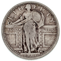 1917-D 25C Standing Liberty Quarter in Fine Condition, Natural Color - $94.04