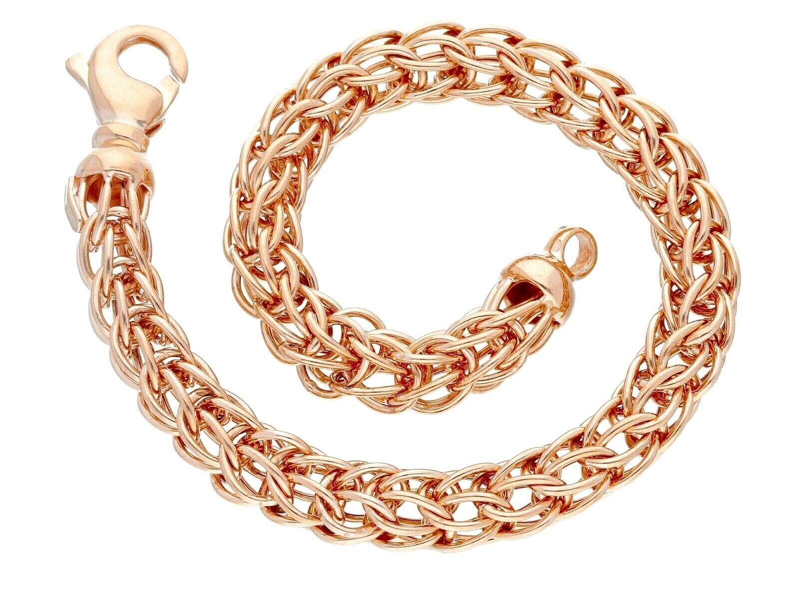 18K ROSE GOLD BRACELET BYZANTINE ROUND TUBE LINK 6.5mm, 19cm MADE IN ITALY