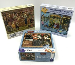 3 Wysockis Bits and Pieces Puzzles 300 500 Cats Grocery Store Season Winter - $34.99