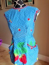 Perfect gift for her: Vintage bib full body apron blue w/strawberry and ... - $16.83