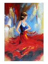 Wieco Art Flying Skirt Abstract Dancing People Oil Paintings on Canvas Wall Art