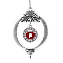 Inspired Silver Alabama Outline Circle Holiday Decoration Christmas Tree Ornamen - $14.69