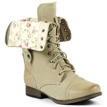 Natural Beige Floral Fold Down Mid Calf Lace Up Military Combat Boots Wild Diva - $14.99