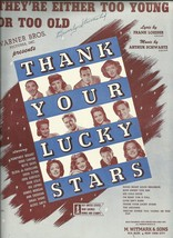 1943 They're Either Too Young Or To Old Antique Vintage Sheet Music - $7.95