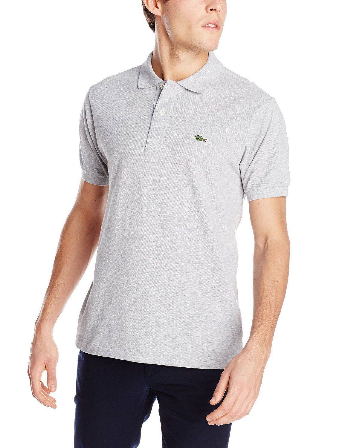 NEW LACOSTE SPORT MEN'S PREMIUM SPORT ATHLETIC COTTON POLO T-SHIRT ARGENT SIZE S