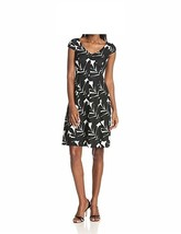Anne Klein Dress Sz 4 Black Multi Camellia Cap Sleeve A Line Business Di... - $39.53