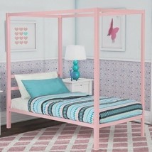 Girls Twin Full Size Pink Metal Canopy Bed Frame Headboard Bedroom Furni... - $133.55+
