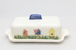 Vintage Covered Butter Dish Tab Handles BIRD HOUSES Unbranded Pottery Se... - $19.24