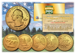 2017 America The Beautiful 24K GOLD PLATED Quarters Parks 5-Coin Set w/C... - $12.16