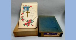 LOT vintage NOS w STORE BOX 6 MOTHER'S DAY ROSARY CARDS treeting norcros... - $12.95