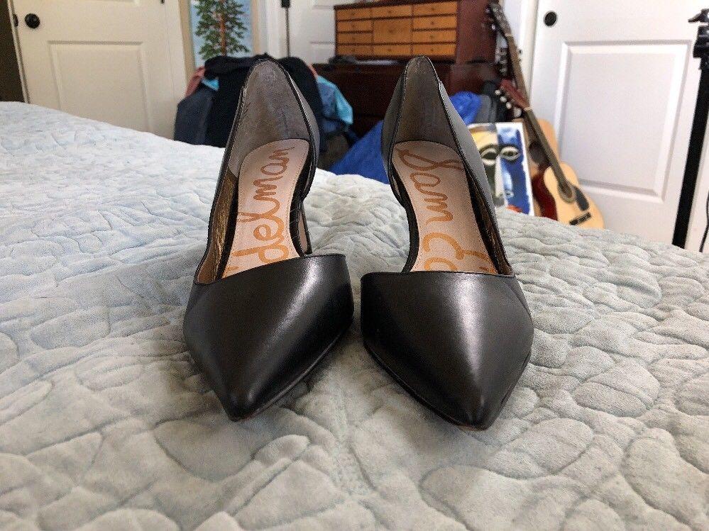 2770b408ba3c4f Sam Edelman Black Snakeskin  Onyx  Half d Orsay Pointy Toe Pump Womens Size