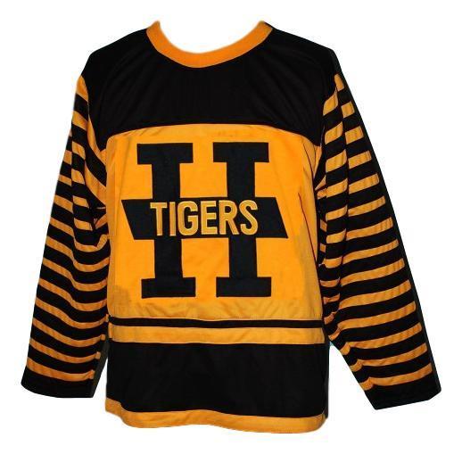 Custom number hamilton tigers retro hockey jersey yellow   1