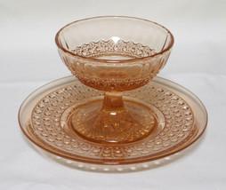 Vintage IMPERIAL Pink Glass FLUTE & CANE Sherbet Dessert Bowl & Plate Sh... - $14.99