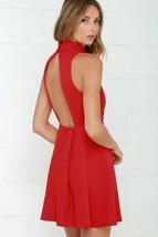Lulus Back For More Skater Dress Open Back Sleeveless Mock Neck Red X-Small - $24.75