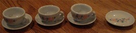 Cute Little Partial Children's Teacup Set, 3 Cups, 4 Plates, VERY GOOD COND - $14.84