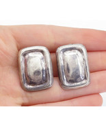 MEXICO 925 Sterling Silver - Vintage Square Bordered Non Pierce Earrings... - $46.76