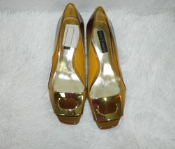 Vince Camuto Shoes Flats Patent Leather Ombre Brown Big Buckle  Size 8M - $46.46