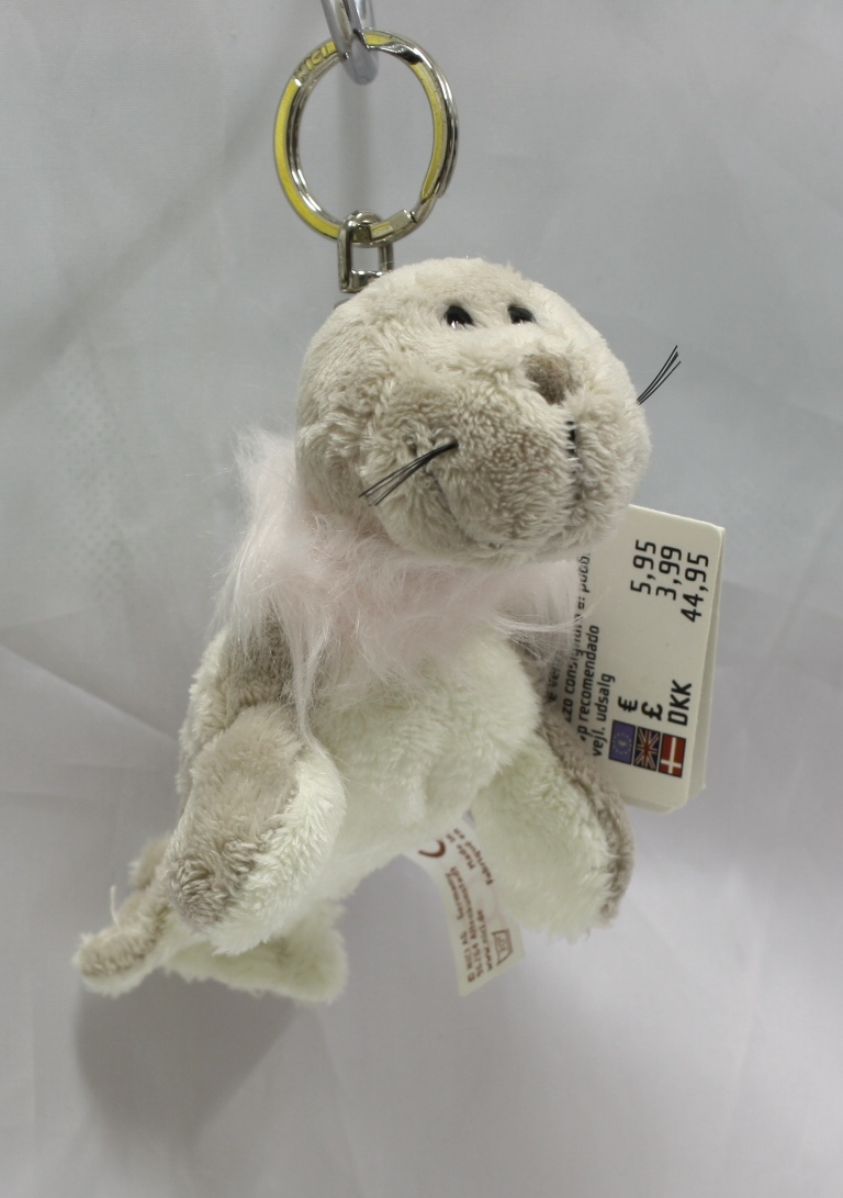 NICI Seal Grey Plush Toy Bean Bag Key Chain Key Ring 4""