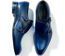 Mens Blue Color Monk Double Buckle Strap Plain Rounded Toe Genuine Leather Shoes - $144.99+