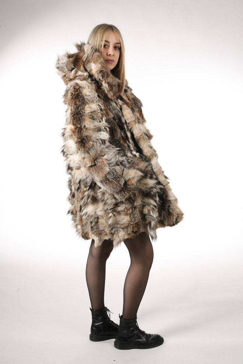 Lynx Fur Coat Hooded Sectional image 3