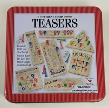 Teasers 7 Different Cardinal Solid Wood Puzzles and Brain Teasers Tin Me... - $13.09