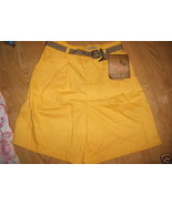 Ladies urban oasis Gold Yellow Pleated Linen Shorts Size 8 New Belt Lg B... - $9.99