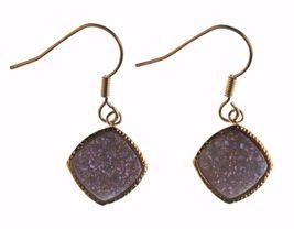 Elise M 18K Gold Plated Pink Druzy Dangle Drop Shepherds Hook Earrings NWT image 4