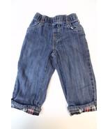 K4778 Boys GYMBOREE Cotton Blue Denim with Plaid Cuffs Elastic Waist JEA... - $15.45