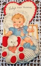 Vintage Valentine Card Babys First 1950s Elephant Signed - $3.81