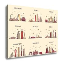 Gallery Wrapped Canvas, Dubai Arabian Peninsulskylines Line Art Style - $162.44+