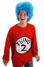 Thing 2 Shirt & Wig Dr Seuss Cat in Hat Fancy Dress Up Halloween Adult C... - $45.53+