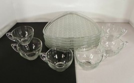 Anchor Hocking DAISY AND BUTTON 6 Snack Set (s) Plate Cup Glass Party Sh... - $29.65