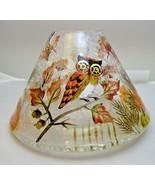 Yankee Candle Crackle Glass Shade w/ Owl Pumpkins Leaves Acorns Fall Dec... - $44.54
