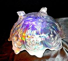 White Imperial Carnival Glass Bowl AA19-1530 Vintage image 7