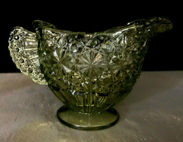 "Fenton Green Colonial Daisy and Button Creamer Art Deco 3"" tall - $9.99"