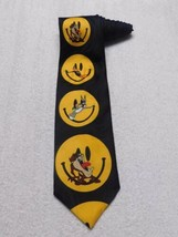 Looney Tunes Mania Smiley Face Emoji NeckTie Tie Bugs Bunny Daffy Duck Taz 1996 - $9.89
